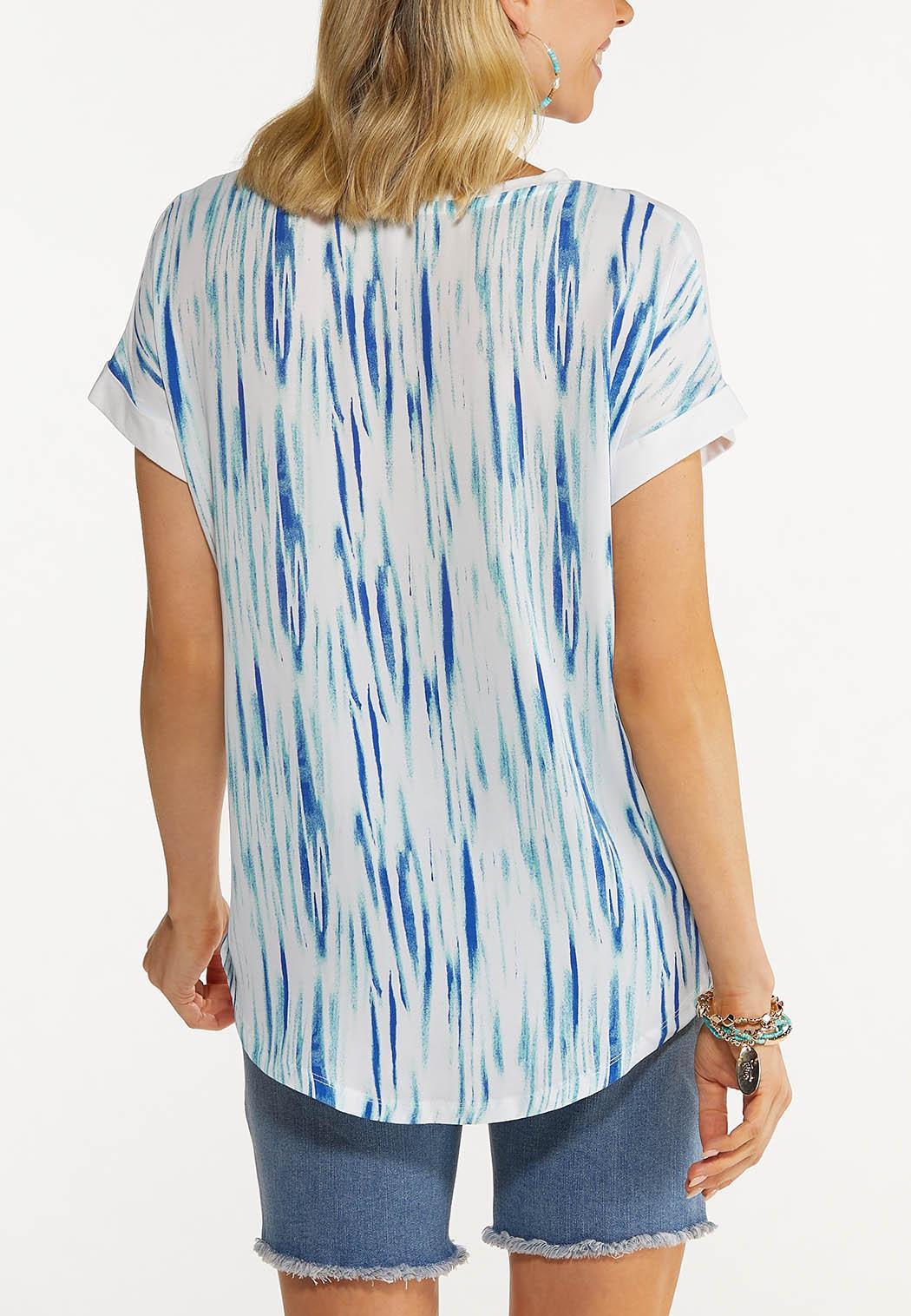 Plus Size Wild Blue Stripe Tee (Item #44573187)