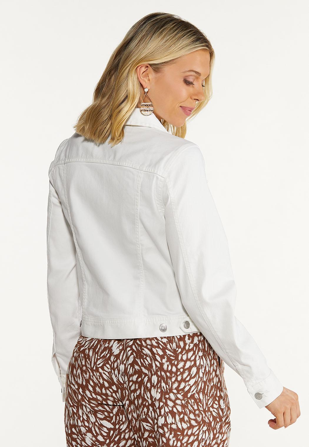 Plus Size White Denim Jacket (Item #44573797)