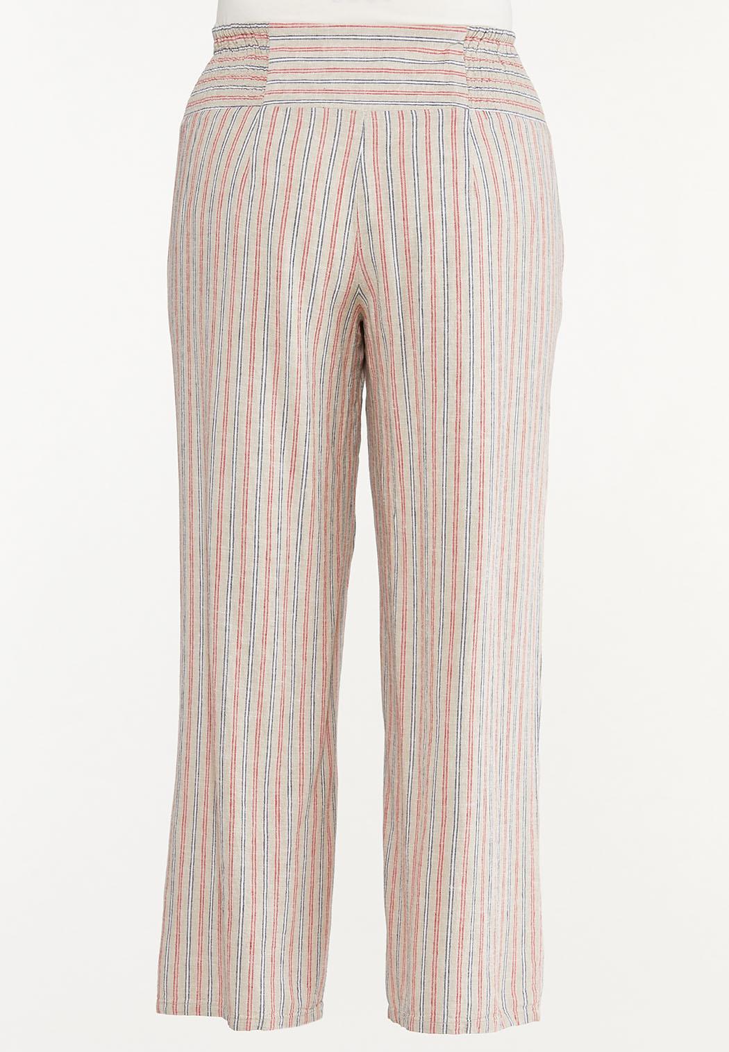 Plus Size Striped Smocked Linen Pants (Item #44574572)