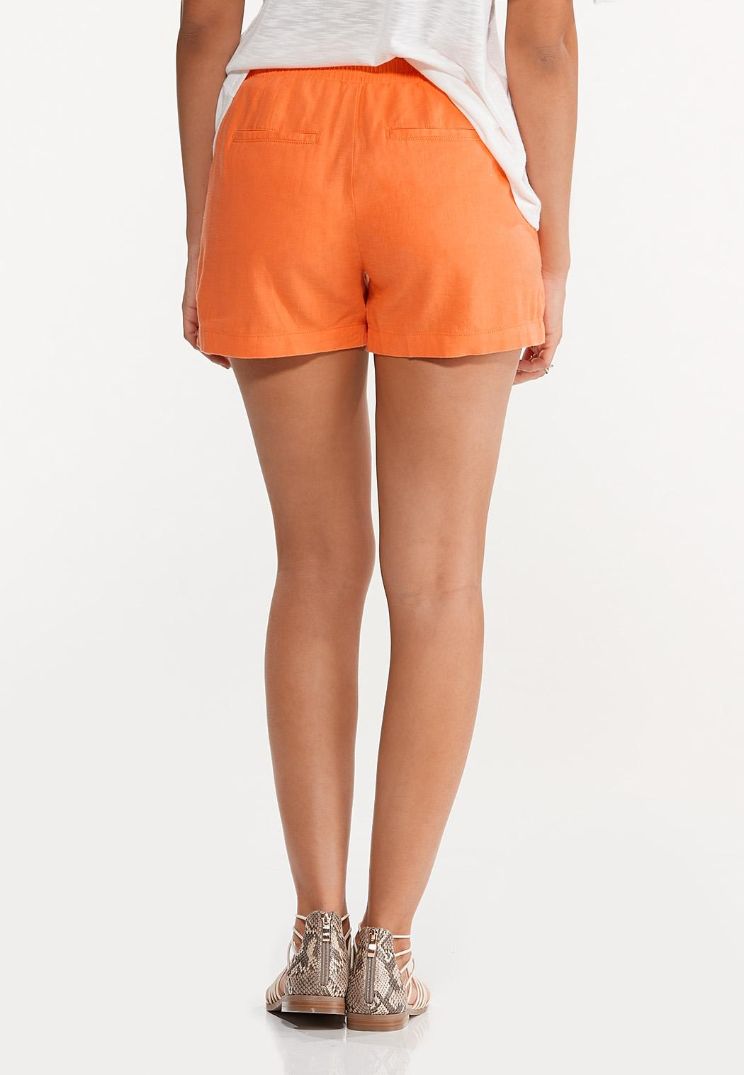 Orange Linen Shorts (Item #44574922)