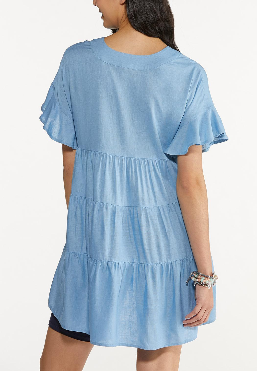 Plus Size Tiered Linen Tunic (Item #44574997)