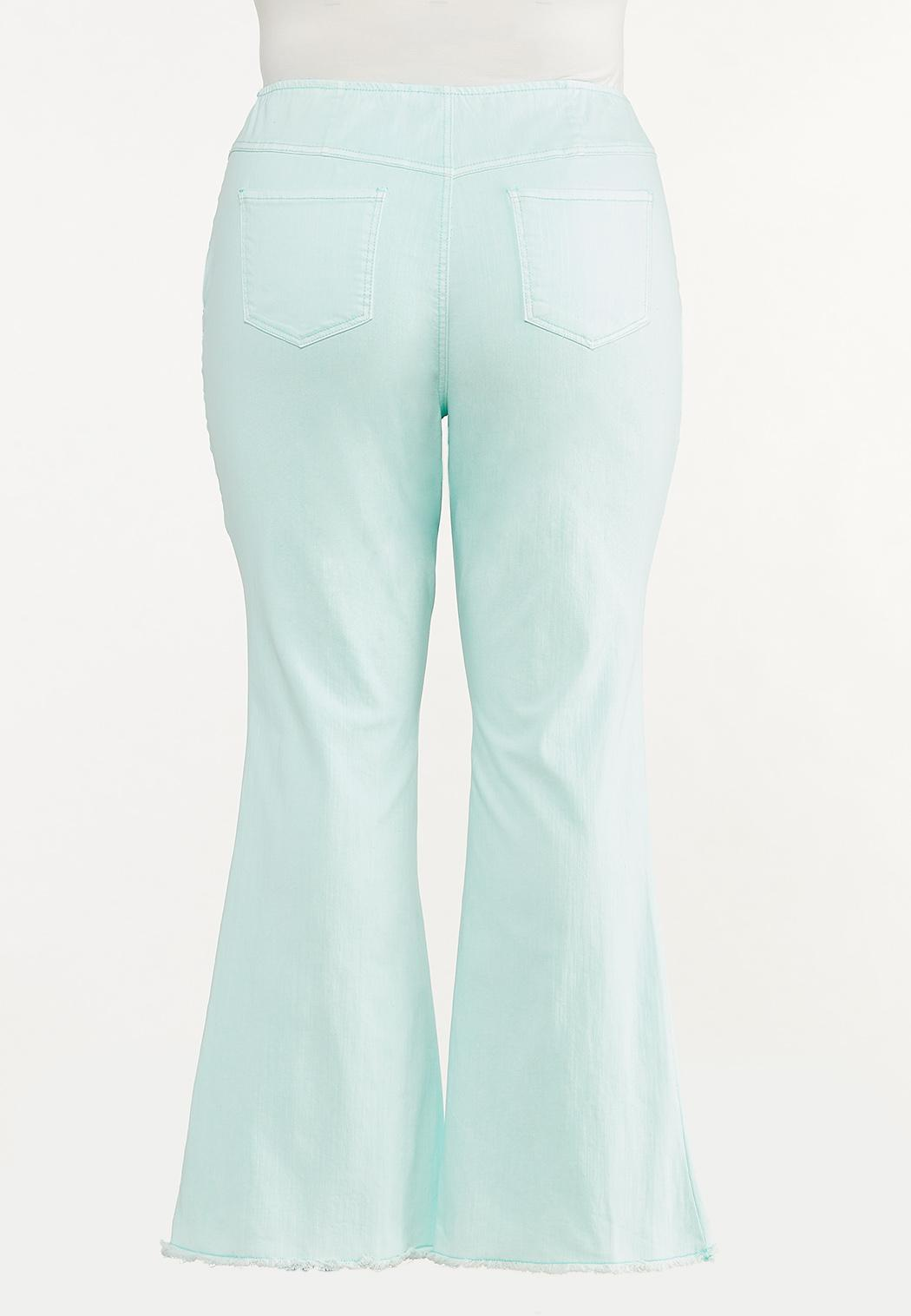 Plus Size Solid Flare Jeans (Item #44575035)