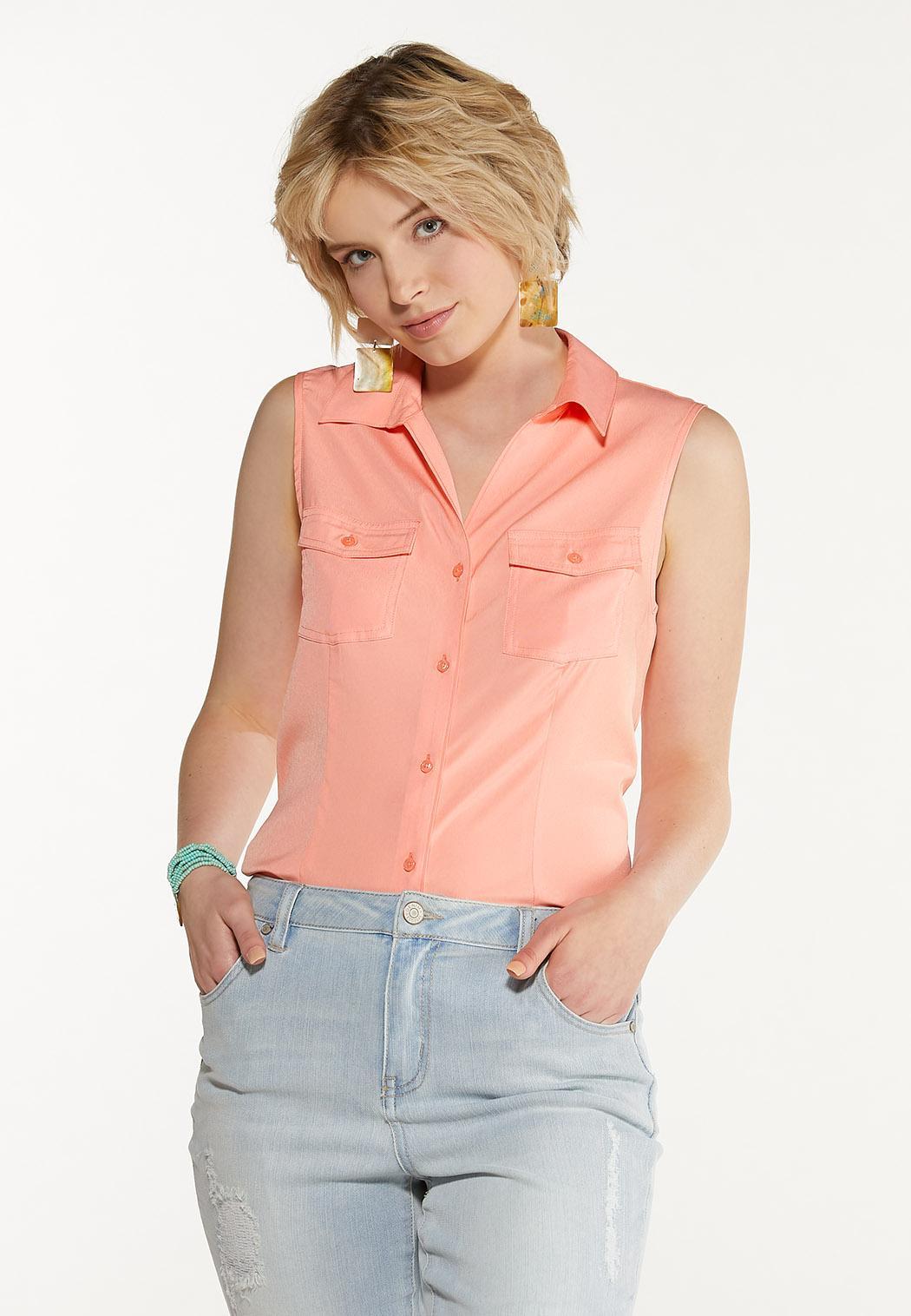 Plus Size Button Down Sleeveless Shirt (Item #44575095)