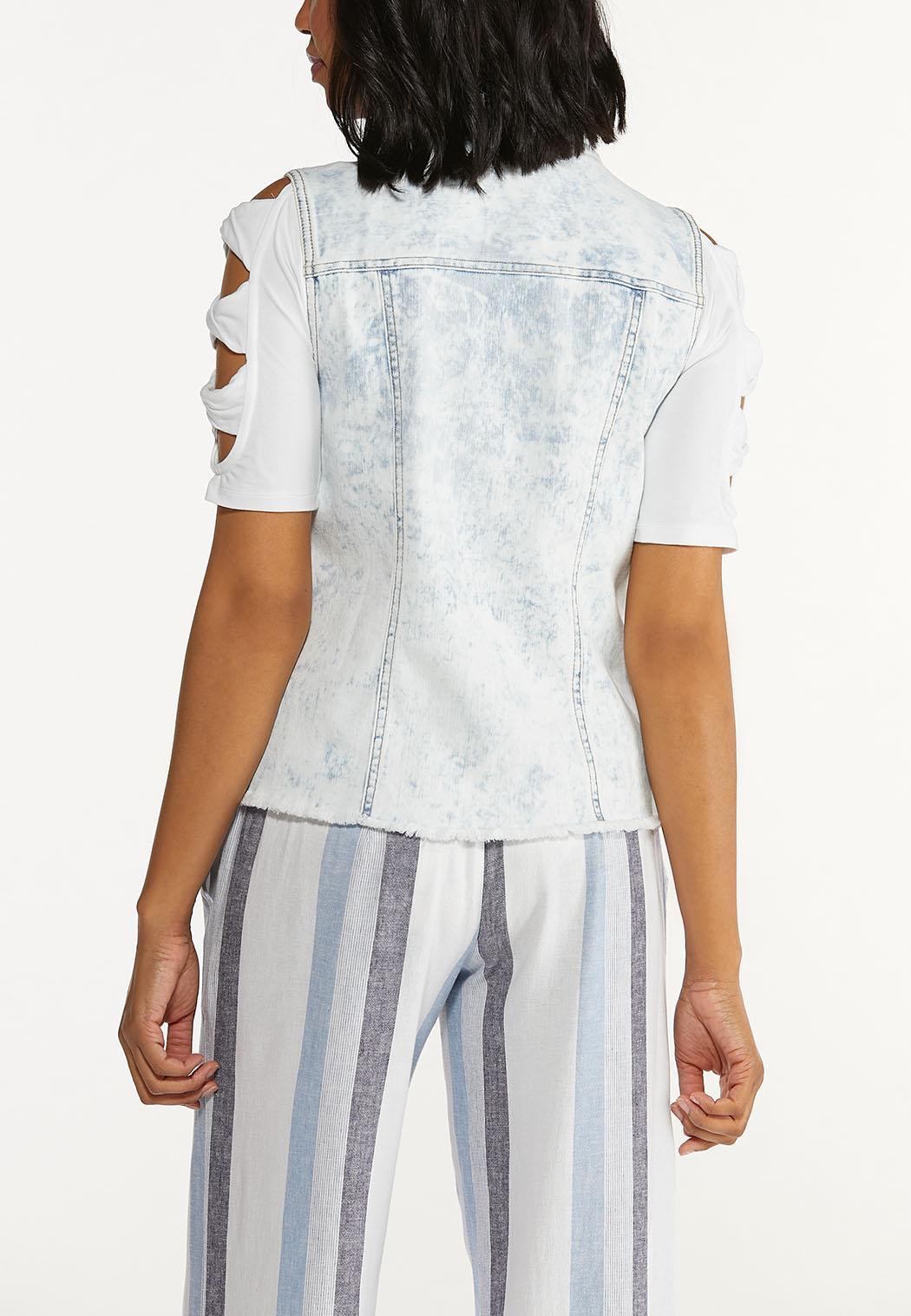 Plus Size Destructed Denim Vest (Item #44575135)