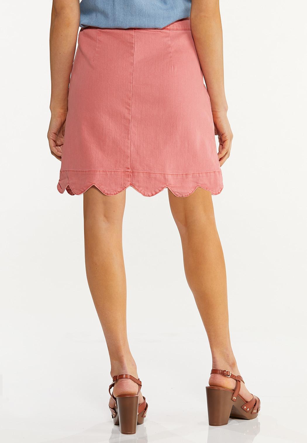 Plus Size Scalloped Denim Skirt (Item #44575218)