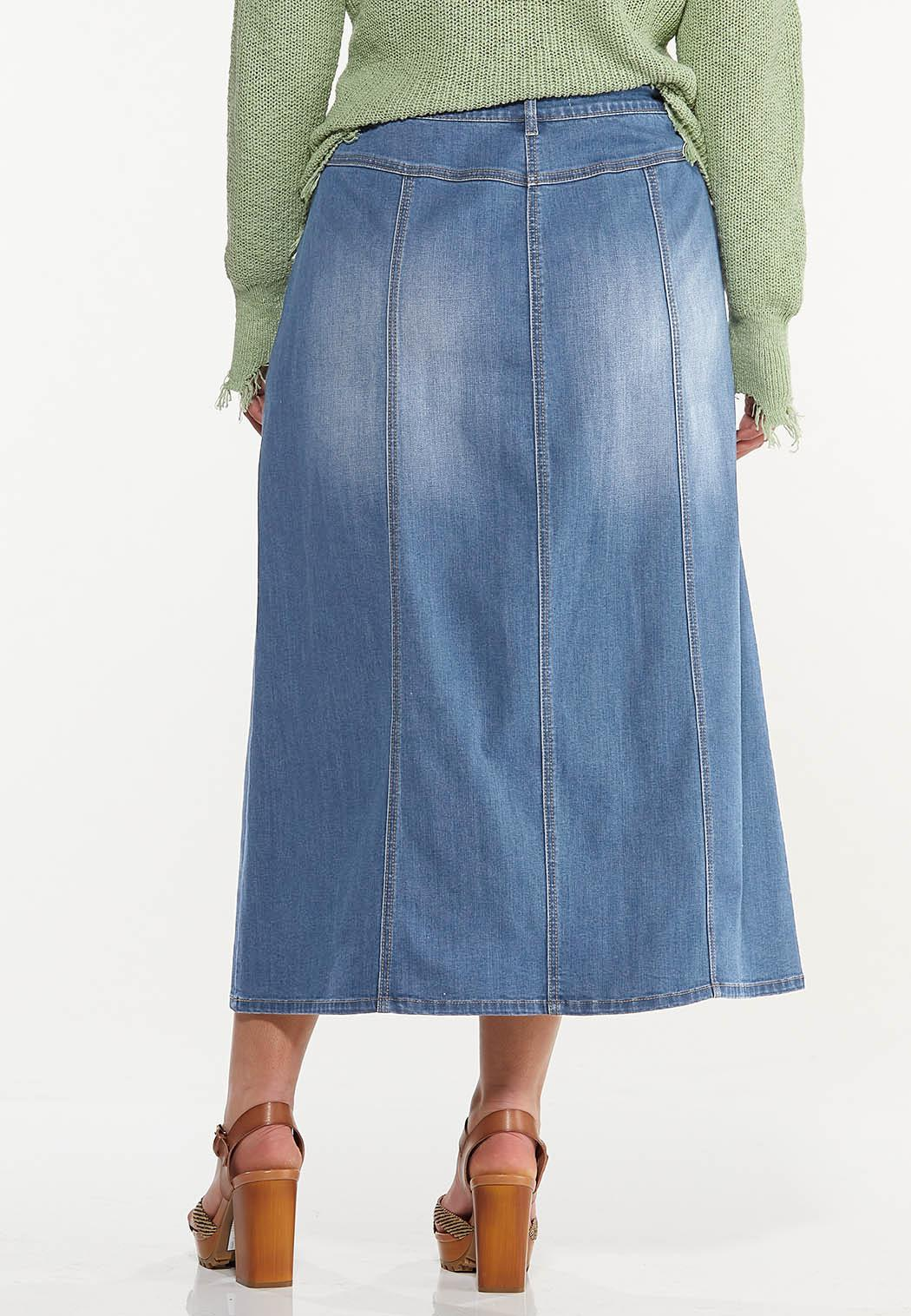 Plus Size Seamed Denim Skirt (Item #44575266)