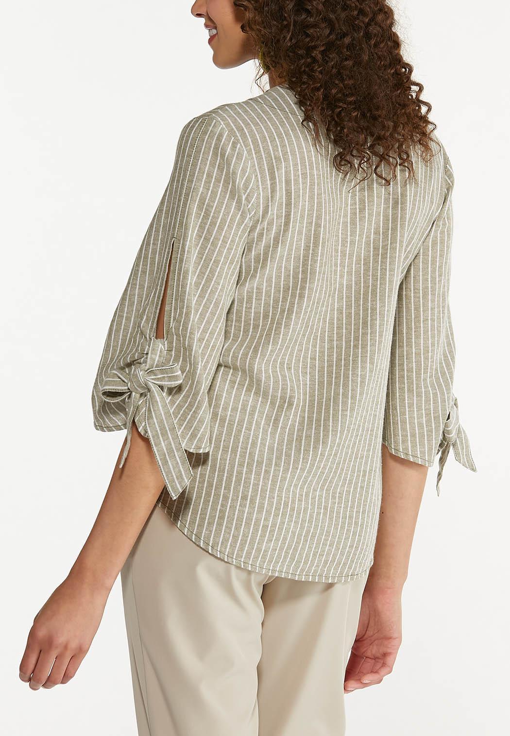Plus Size Striped Linen Top (Item #44575469)