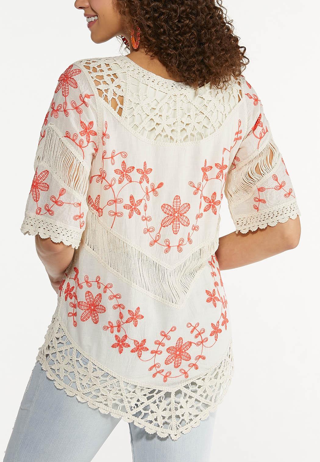 Plus Size Crochet Floral Tunic (Item #44575503)