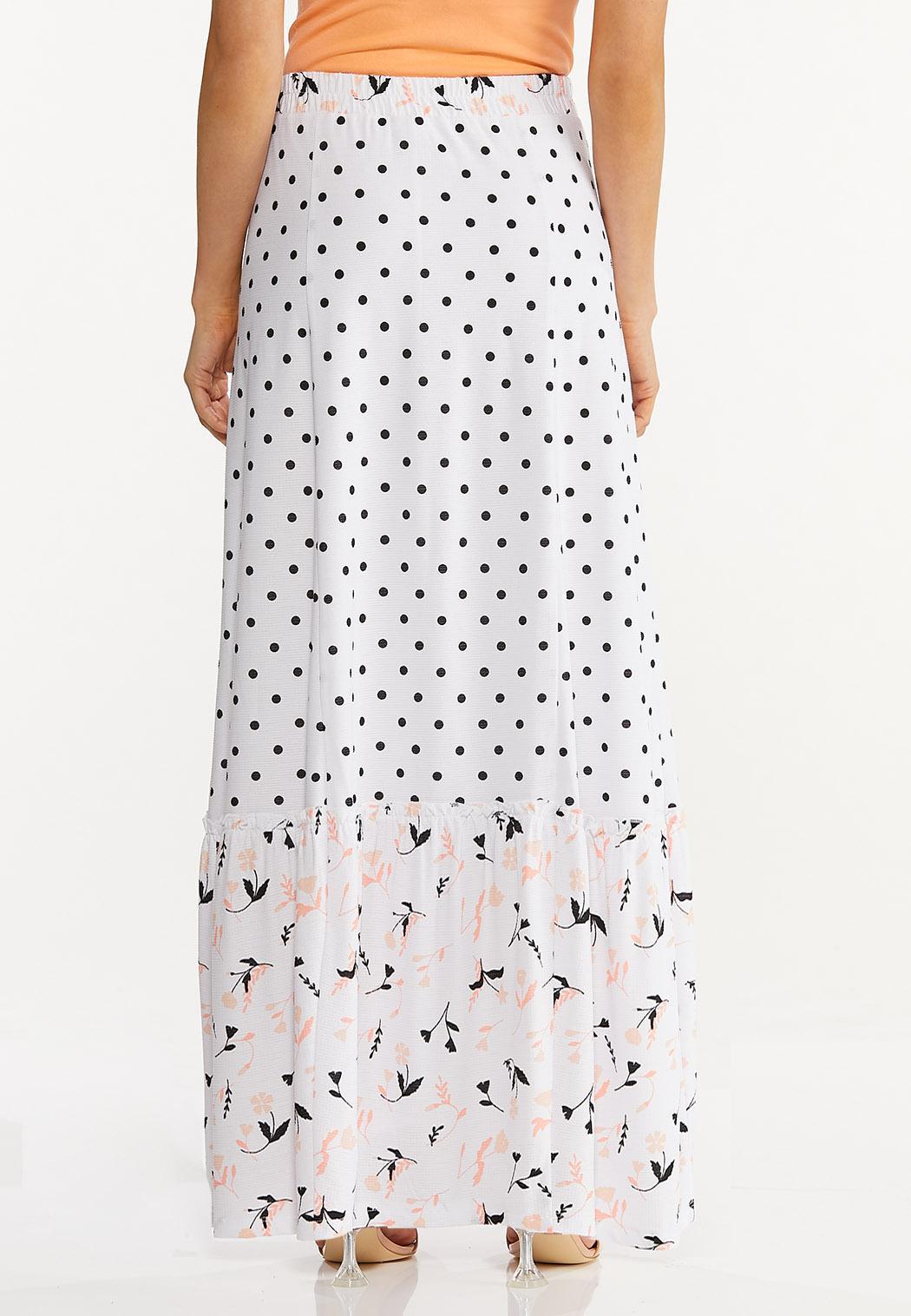Plus Size Peach Floral Maxi Skirt (Item #44575648)