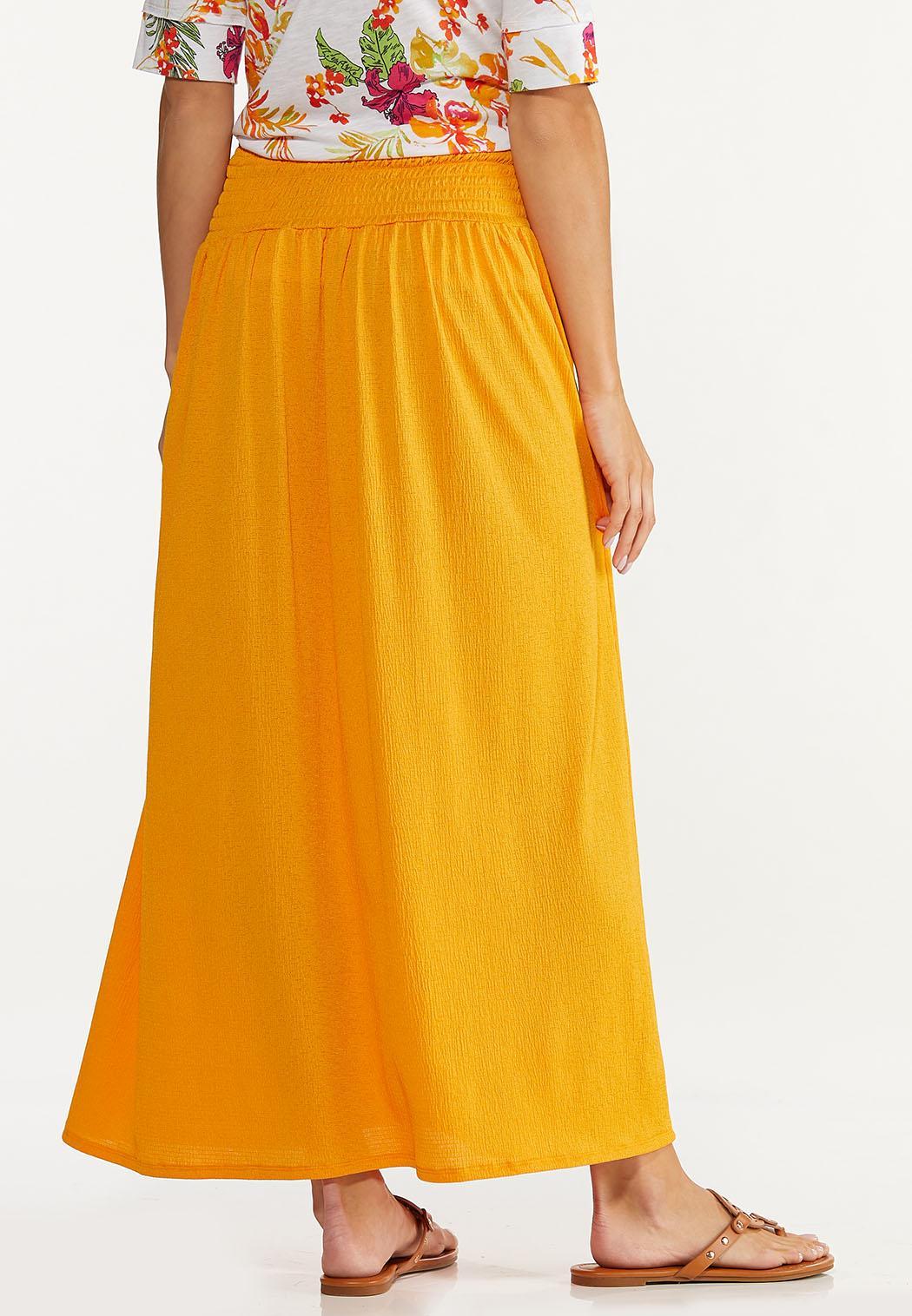 Plus Size Smocked Gauze Maxi Skirt (Item #44575663)