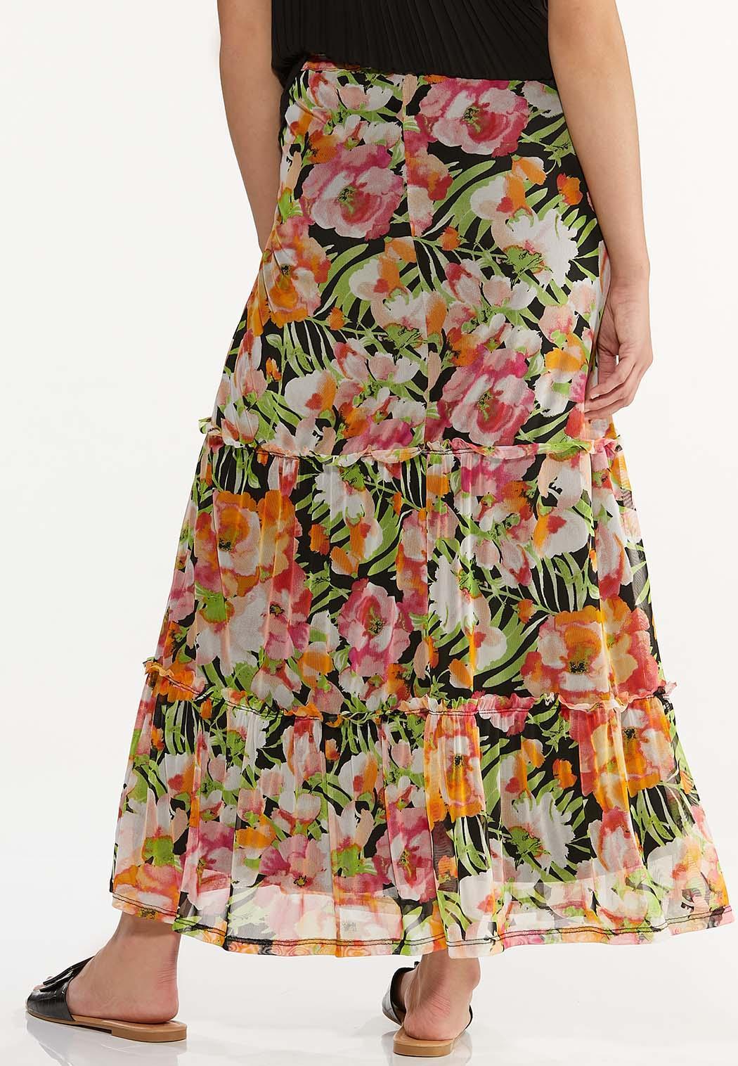 Plus Size Mesh Floral Maxi Skirt (Item #44575671)