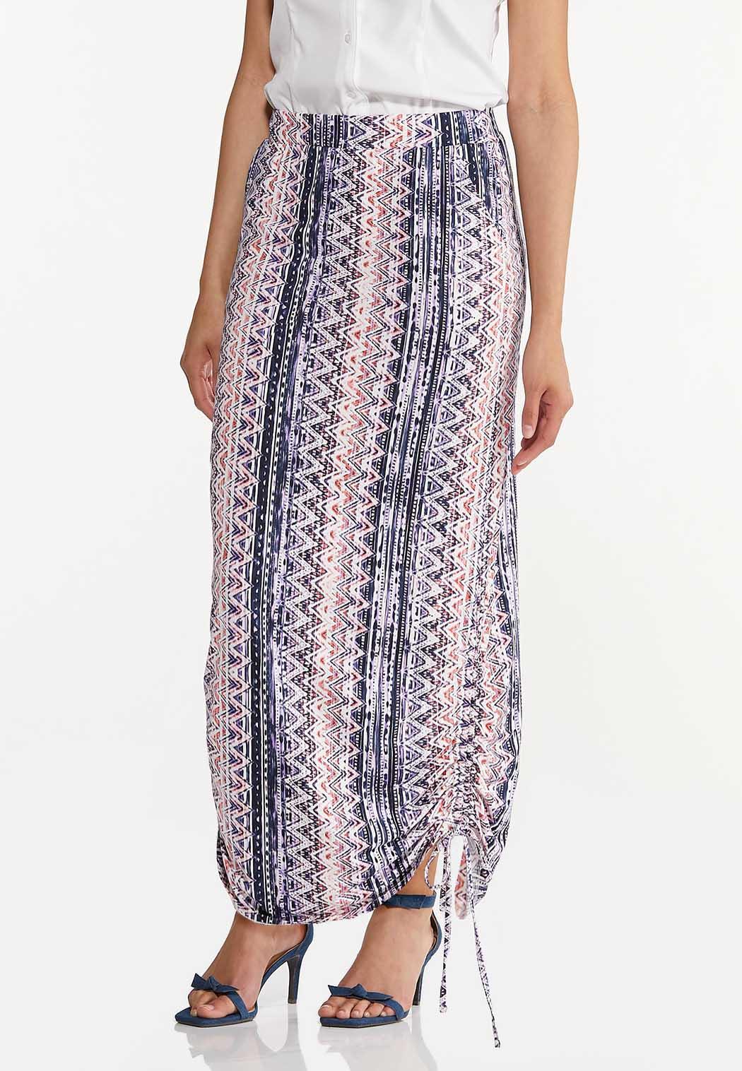 Plus Size Cinched Aztec Maxi Skirt (Item #44575679)