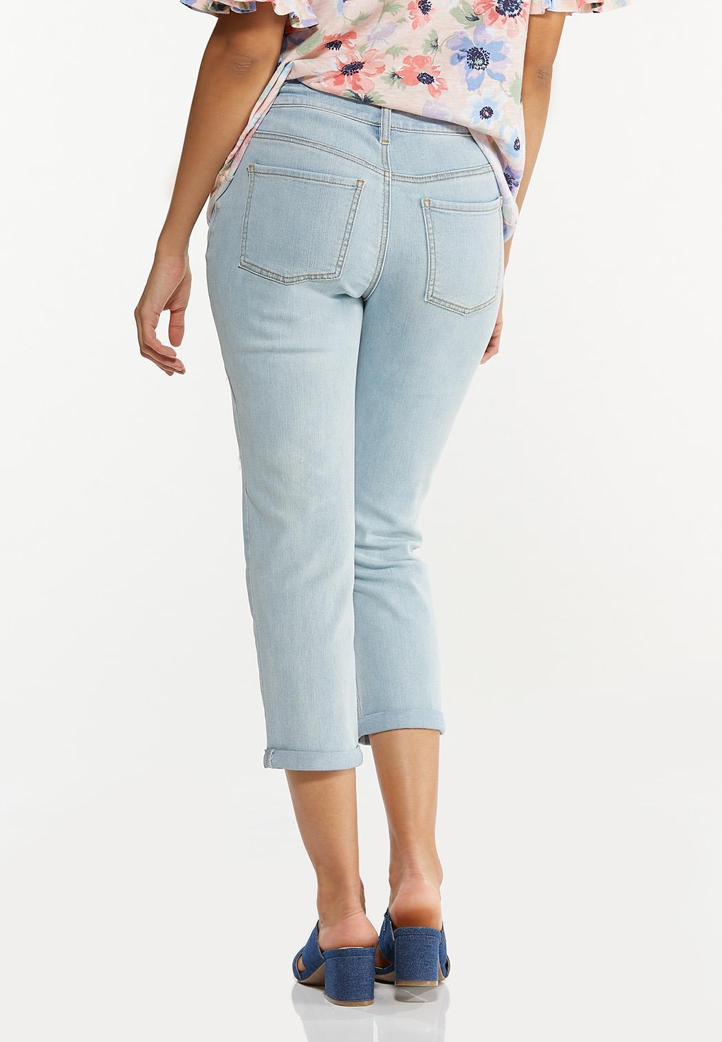 Cropped Distressed Boyfriend Jeans (Item #44575721)