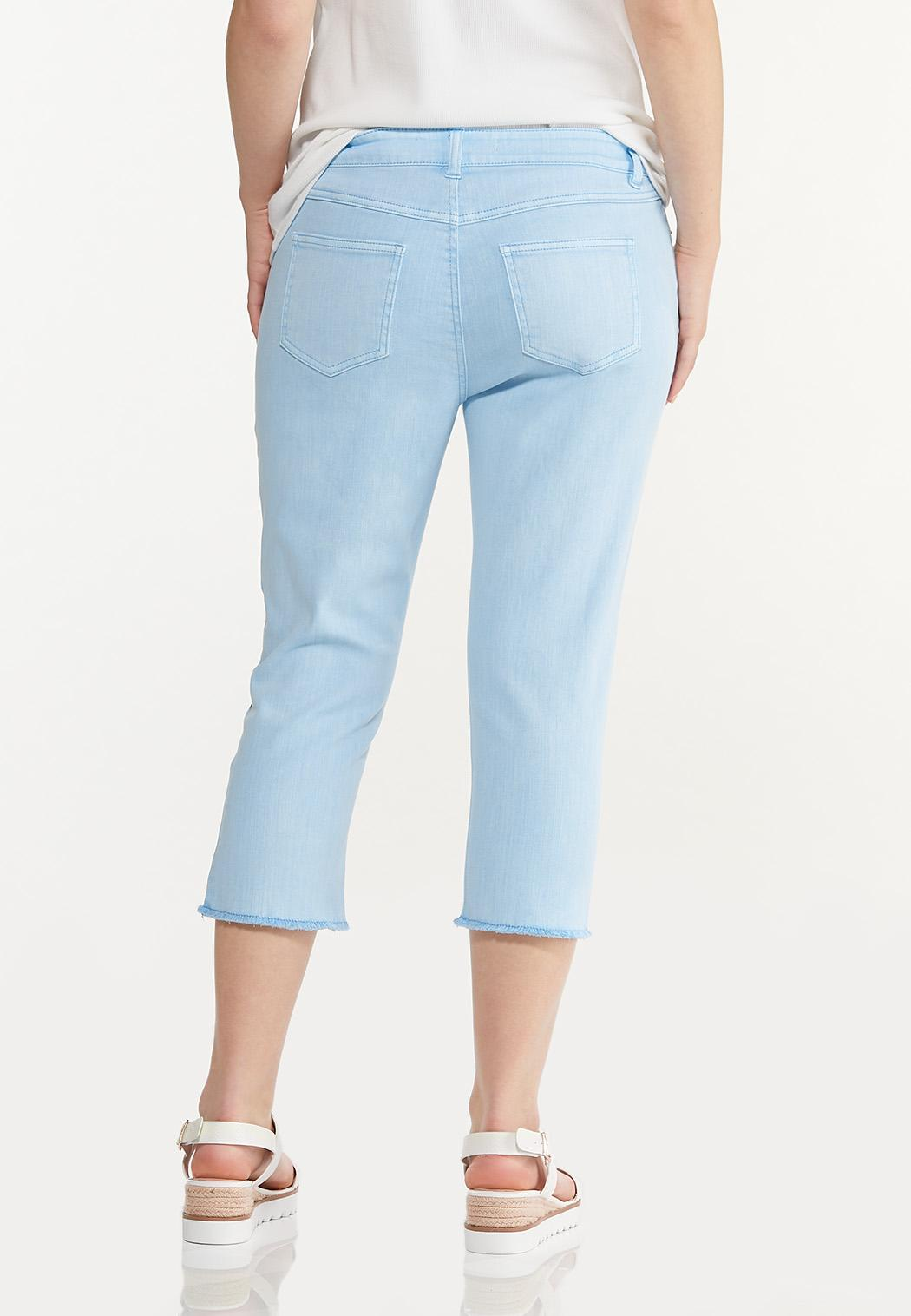 Curvy Frayed Cropped Jeans (Item #44575735)