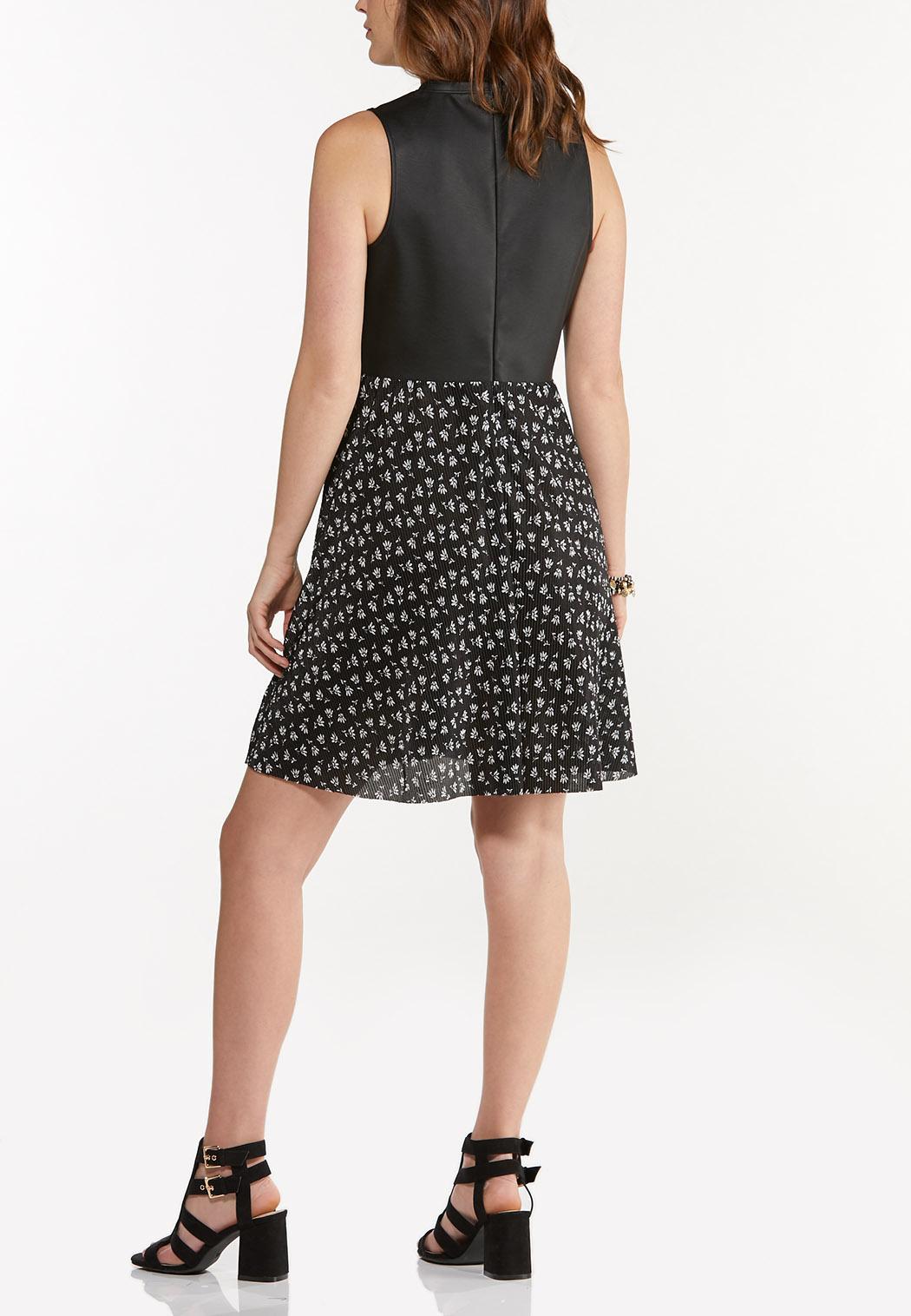 Plus Size Faux Leather Floral Dress (Item #44575784)