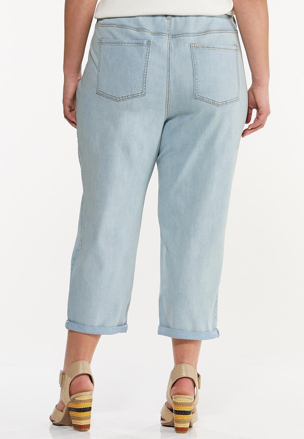 Plus Size Cropped Distressed Boyfriend Jeans (Item #44575785)