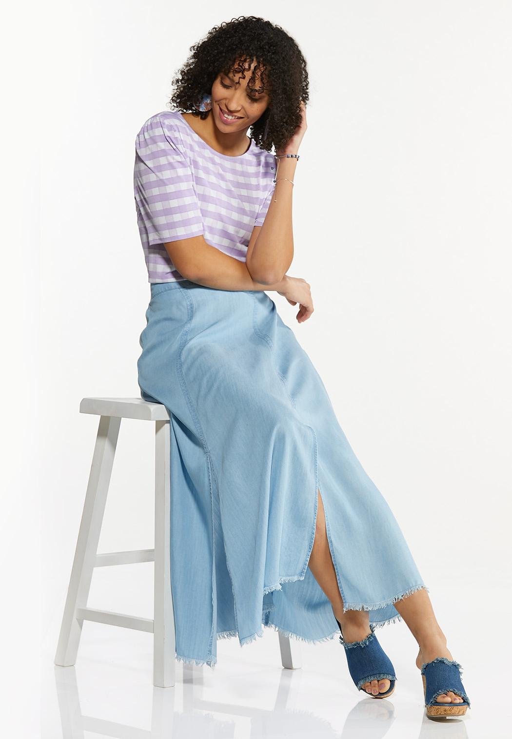 Plus Size Chambray Double Slit Skirt (Item #44575913)