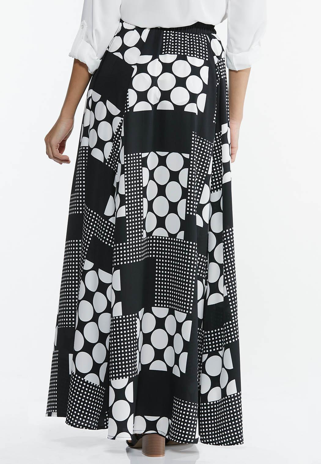 Plus Size Mixed Dot Maxi Skirt (Item #44575933)
