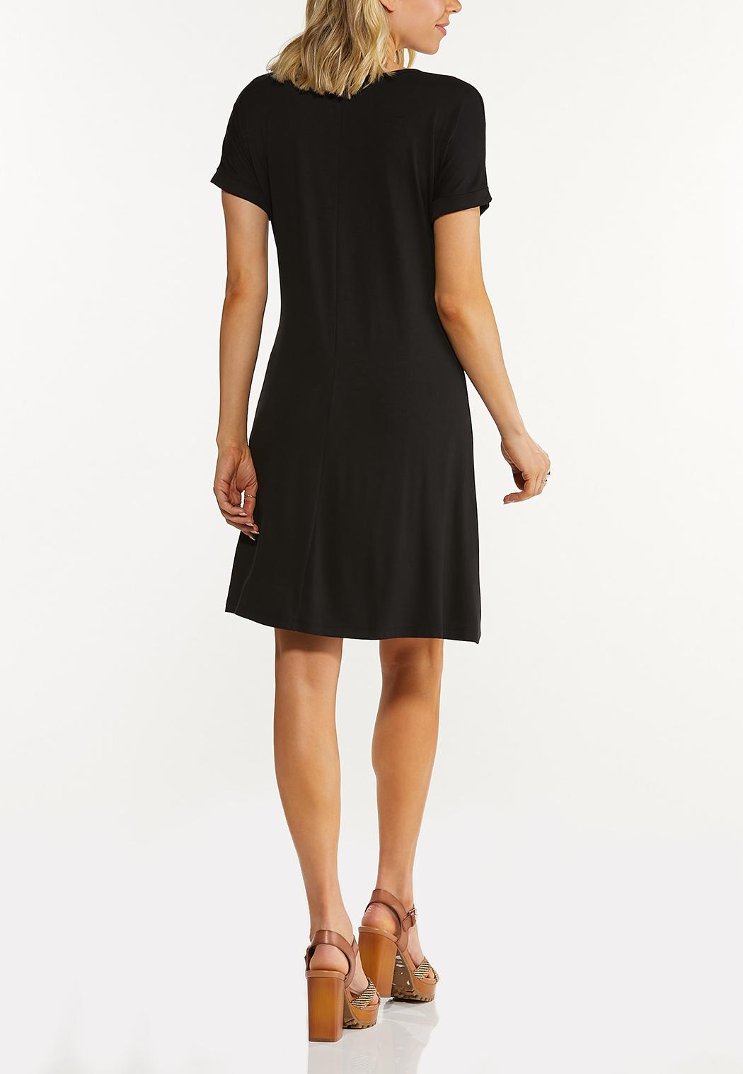 Plus Size Solid Shirt Swing Dress (Item #44575948)