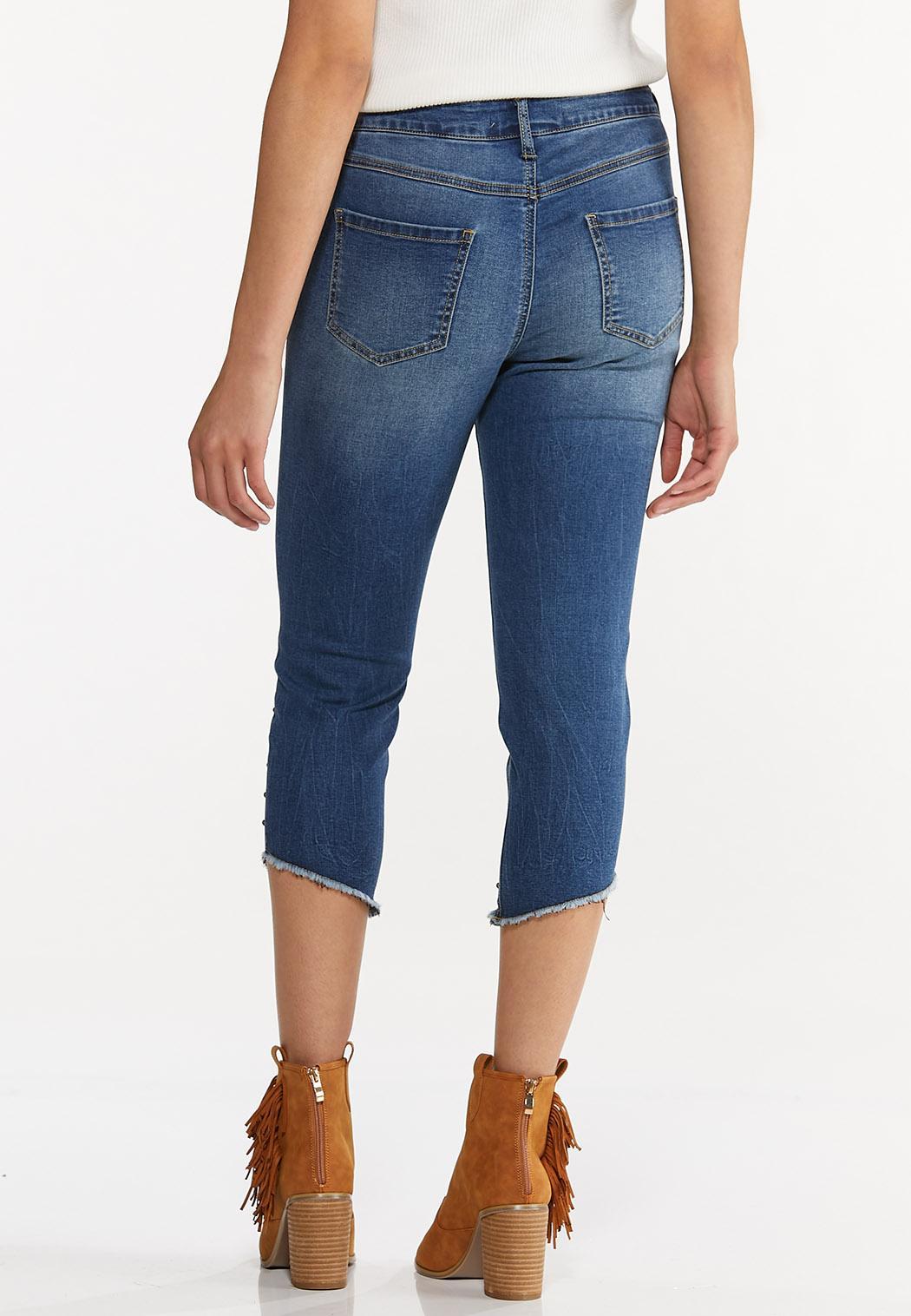 Cropped Studded Hem Jeans (Item #44576171)