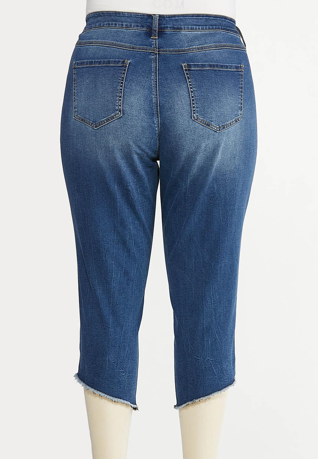 Cropped Studded Hem Jeans (Item #44576211)
