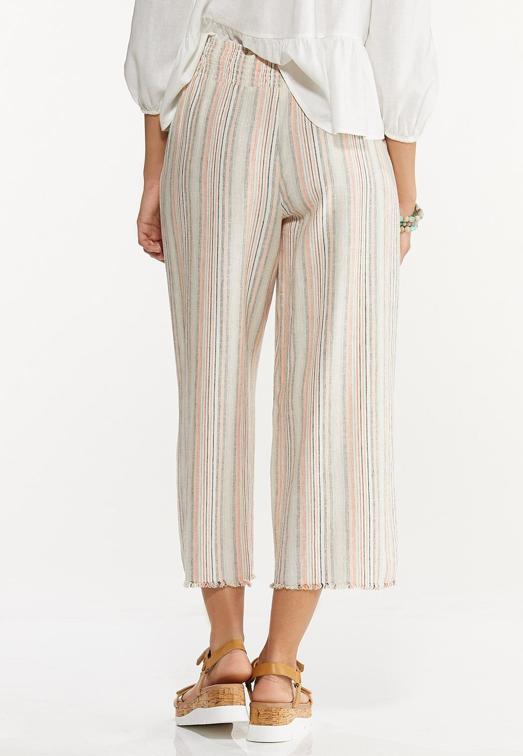 Striped Linen Cropped Pants (Item #44576586)