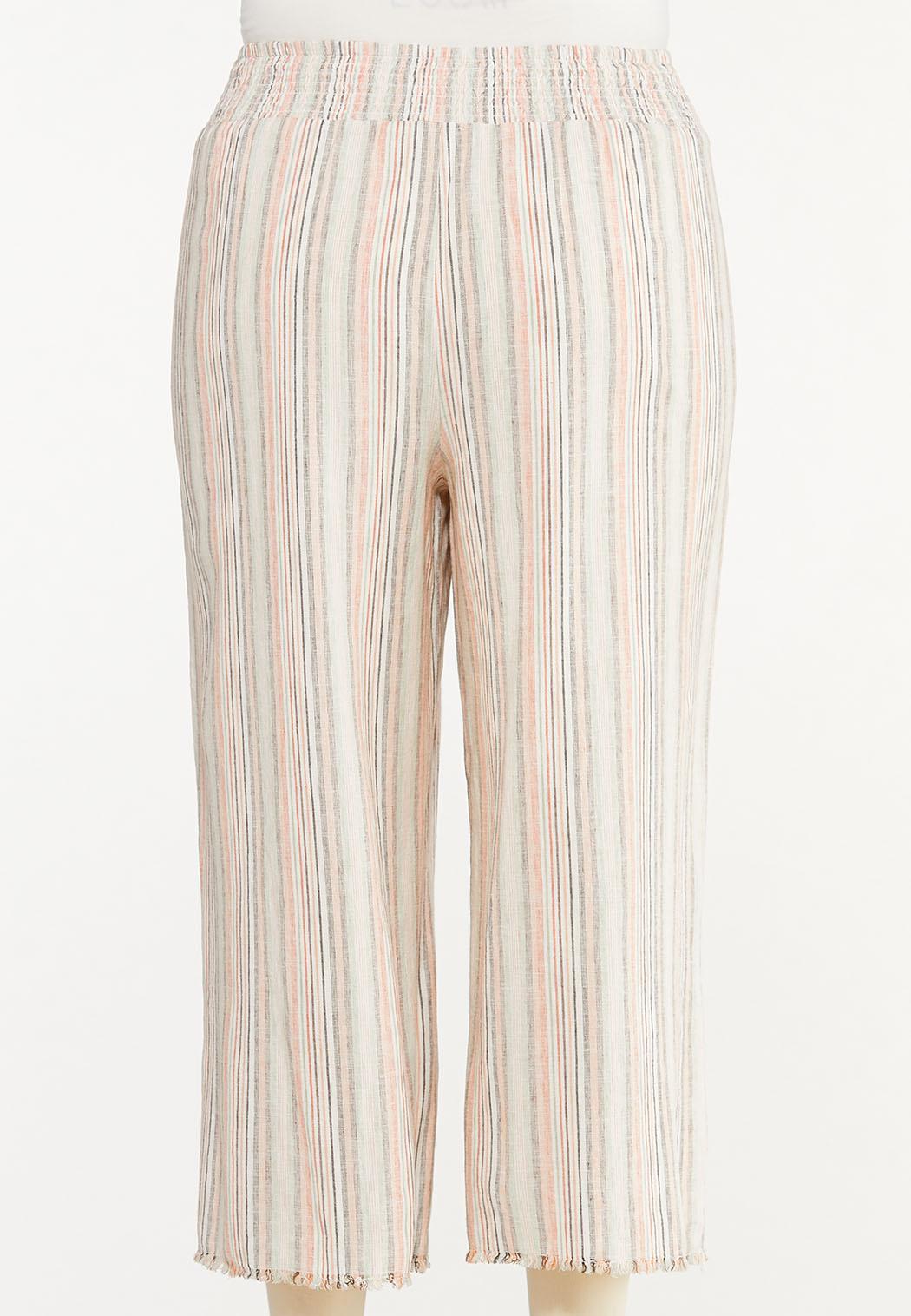 Plus Size Striped Linen Cropped Pants (Item #44576608)