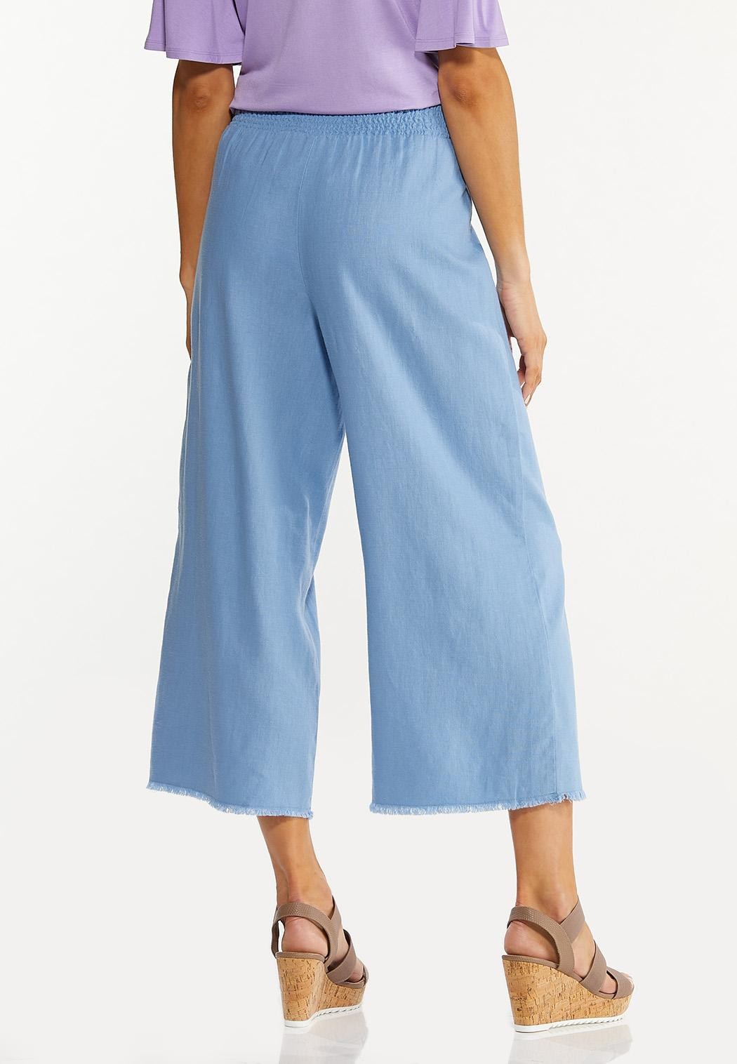 Frayed Wide Leg Linen Pants (Item #44576617)