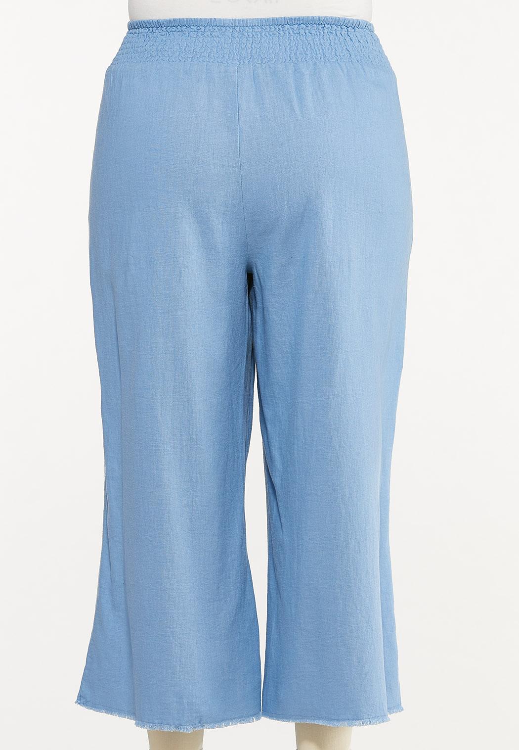 Plus Size Frayed Wide Leg Linen Pants (Item #44576652)