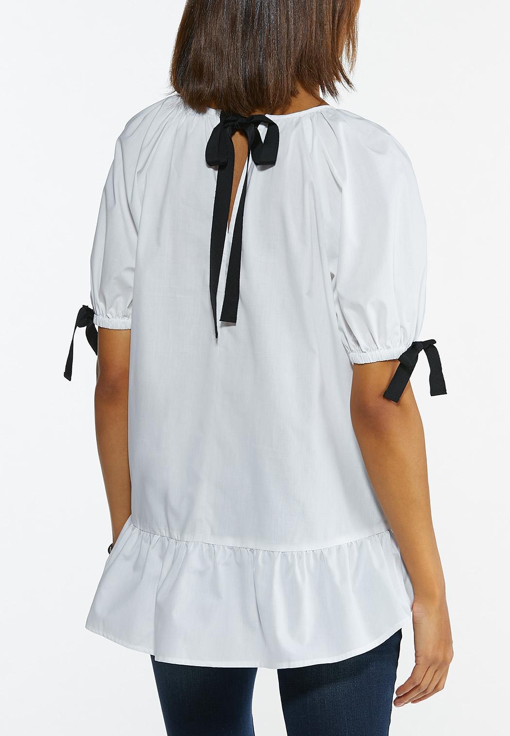 Plus Size Ribbon Sleeve Poplin Shirt (Item #44576798)