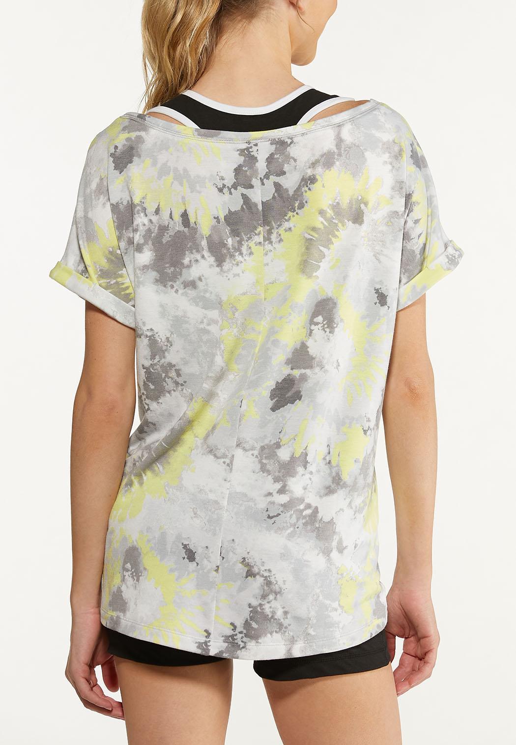 Plus Size Tie Dye Roll Sleeve Tee (Item #44577240)