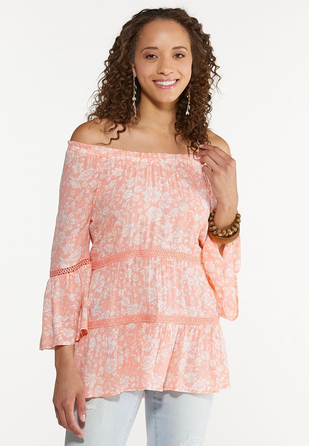 Plus Size Peach Floral Poet Top (Item #44577270)