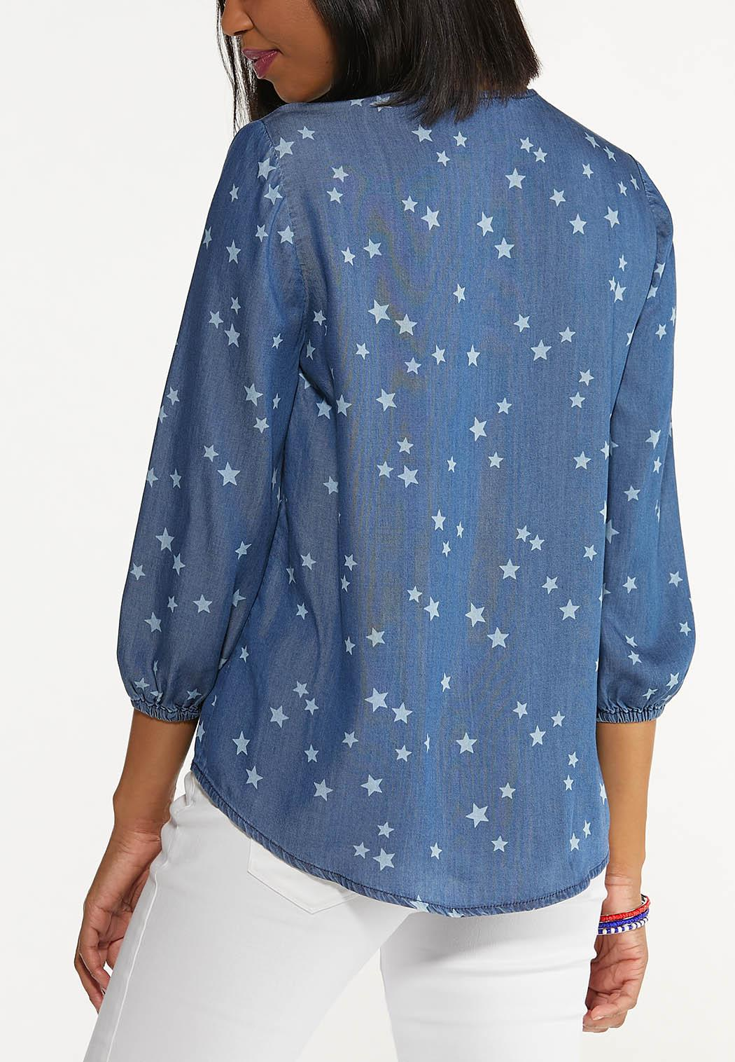 Plus Size Chambray Star Poet Top (Item #44577339)