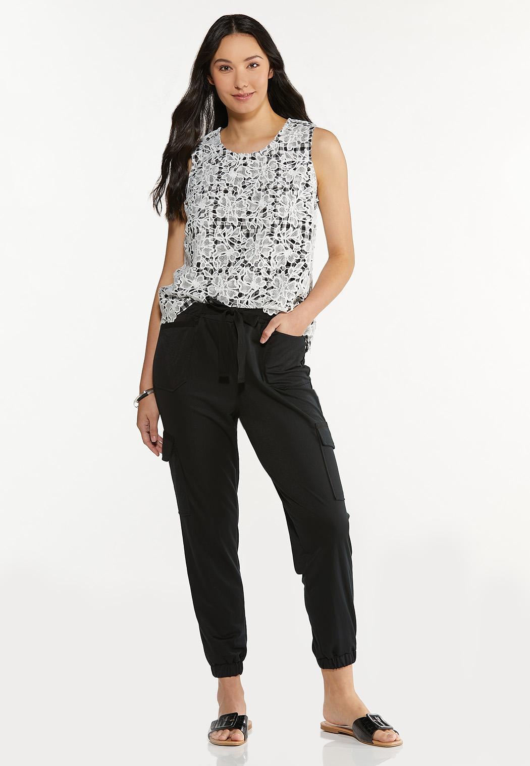 Plus Size Crochet Gingham Top (Item #44577398)