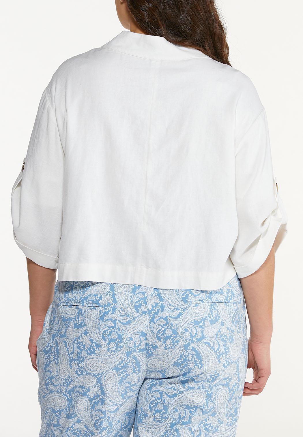 Plus Size Cropped Linen Jacket (Item #44577426)
