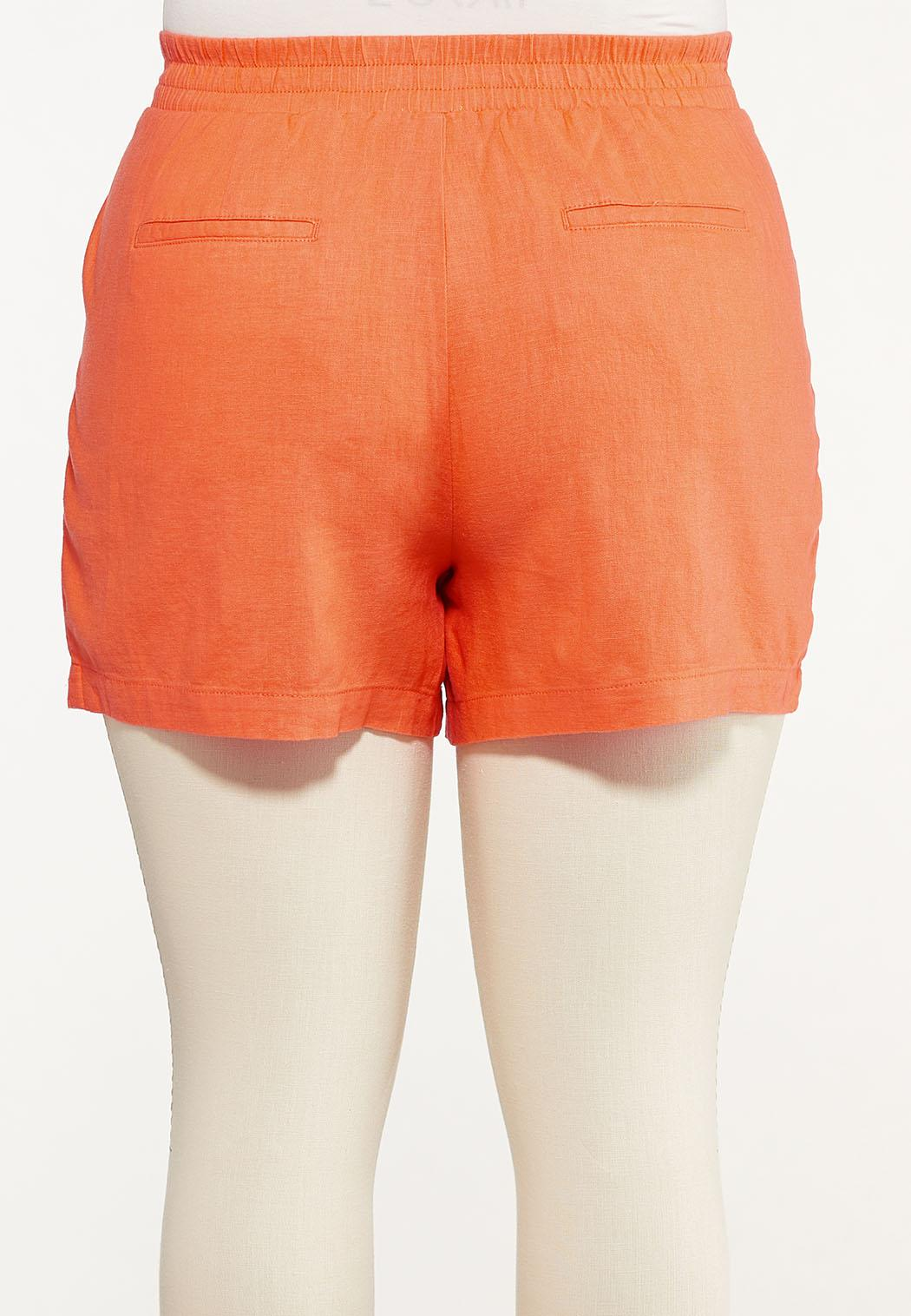 Plus Size Orange Linen Shorts (Item #44577471)