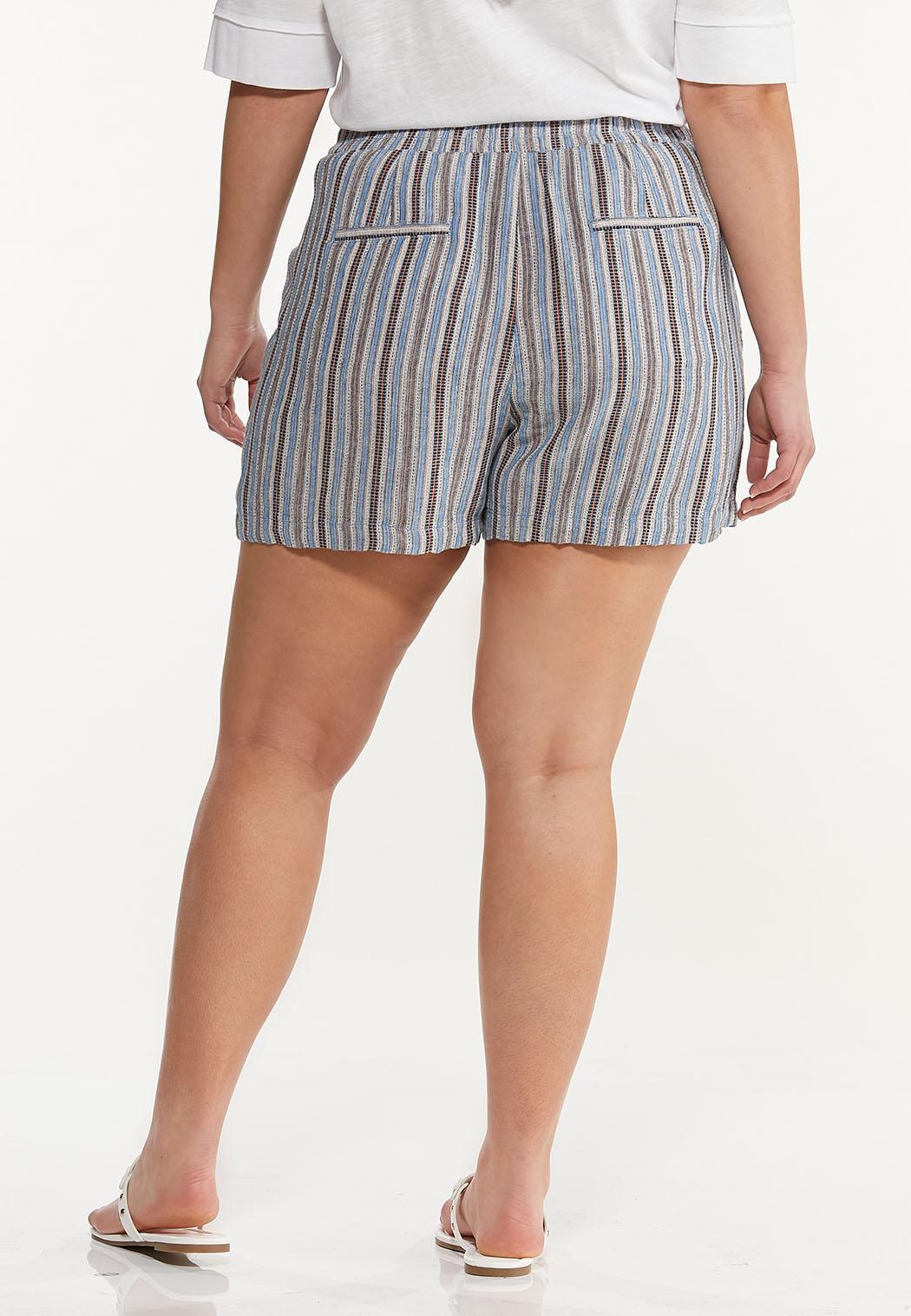 Plus Size Vintage Stripe Linen Shorts (Item #44577486)