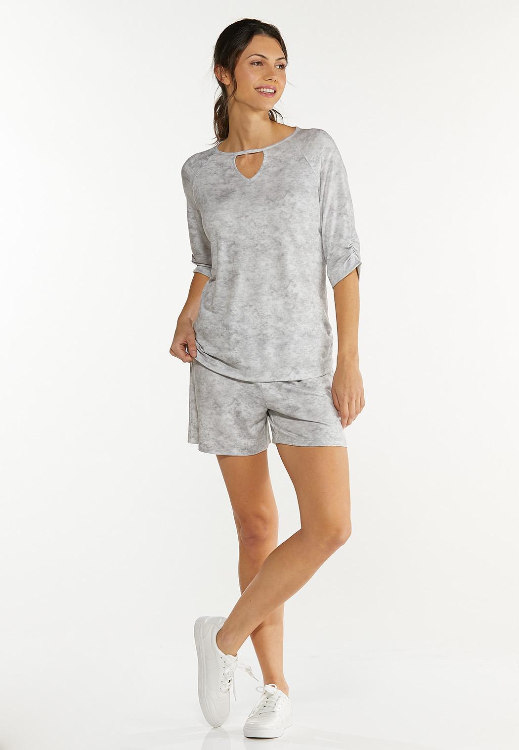 Plus Size Gray Tie Dye Top (Item #44577527)