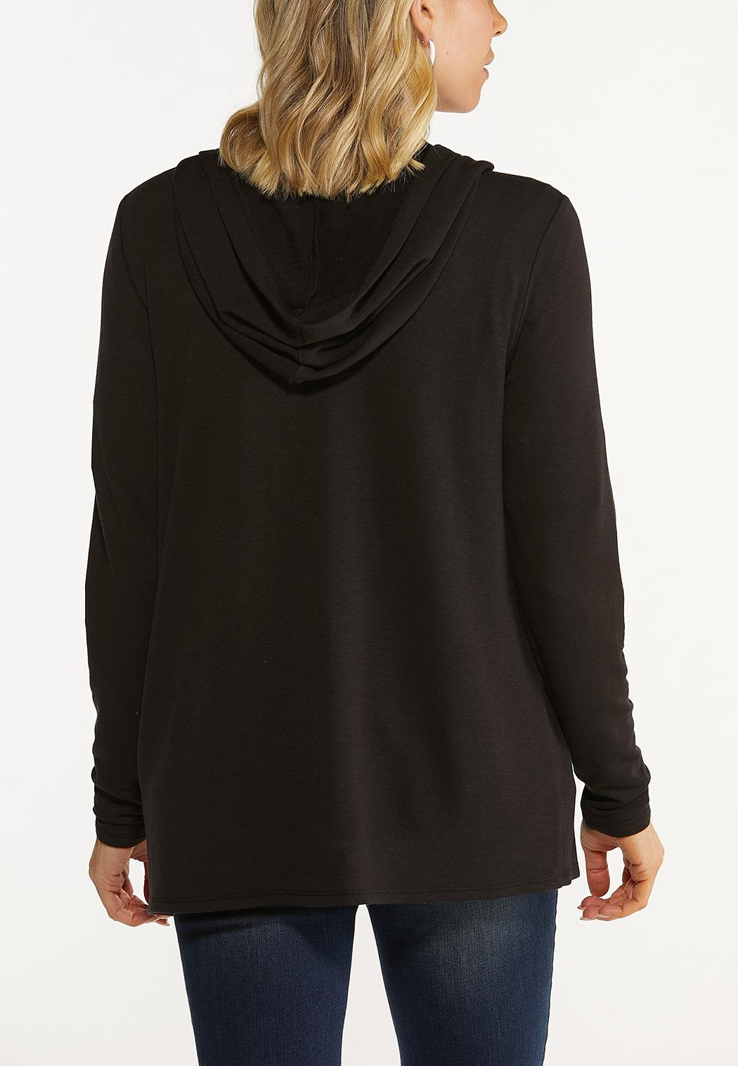 Plus Size Flyaway Hooded Cardigan (Item #44577826)