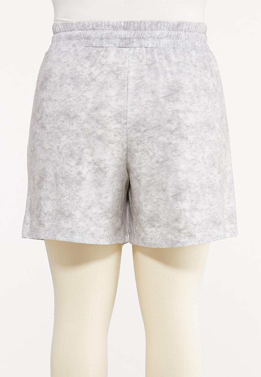 Plus Size Gray Tie Dye Shorts (Item #44578024)