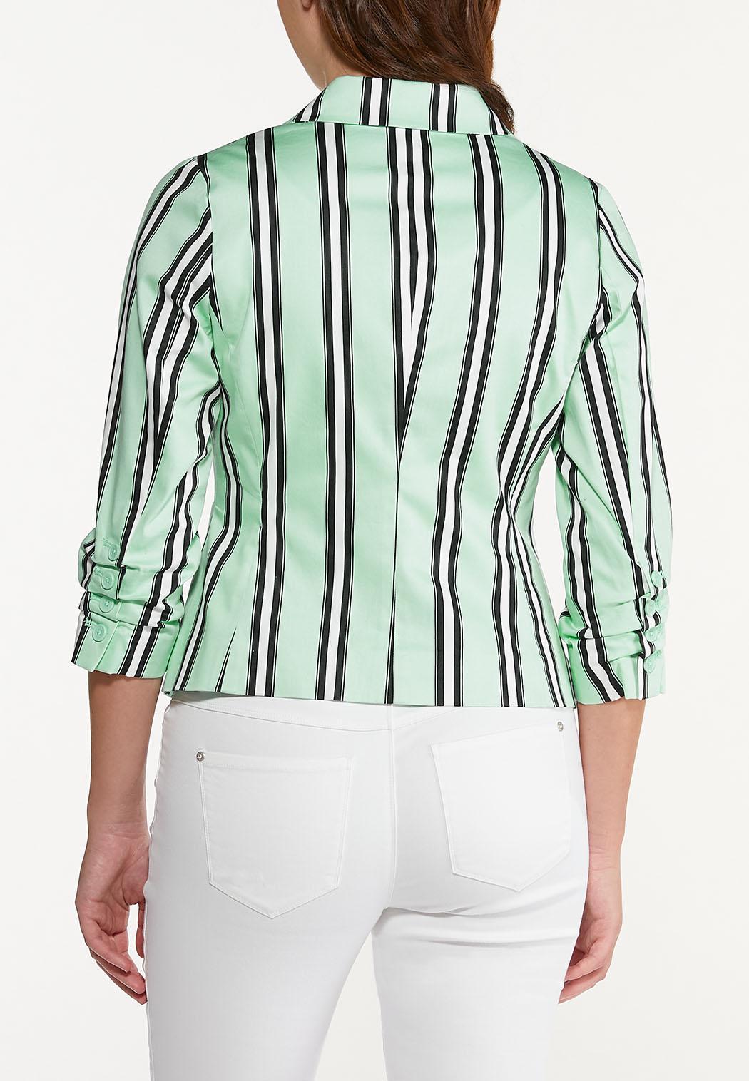 Plus Size Stripe Mint Blazer (Item #44578082)