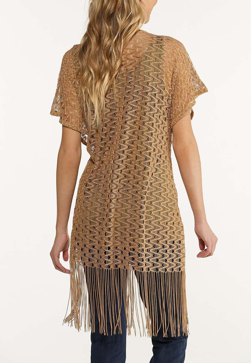 Open Weave Fringe Kimono (Item #44578172)