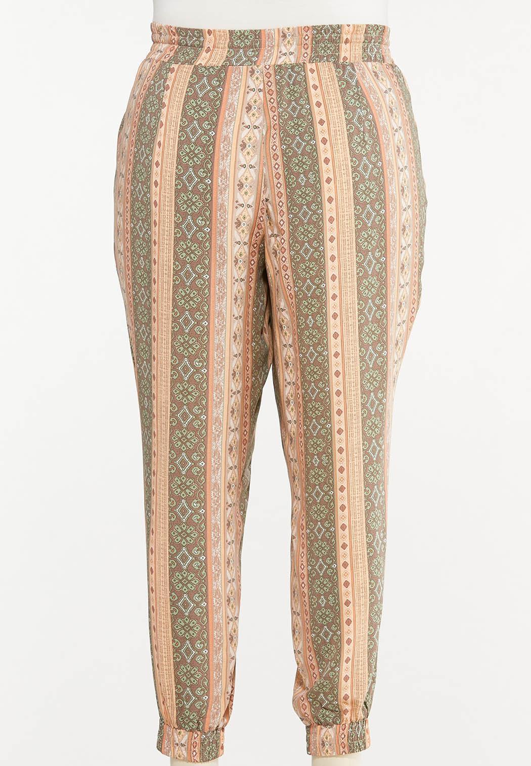 Plus Size Striped Challis Joggers (Item #44578195)