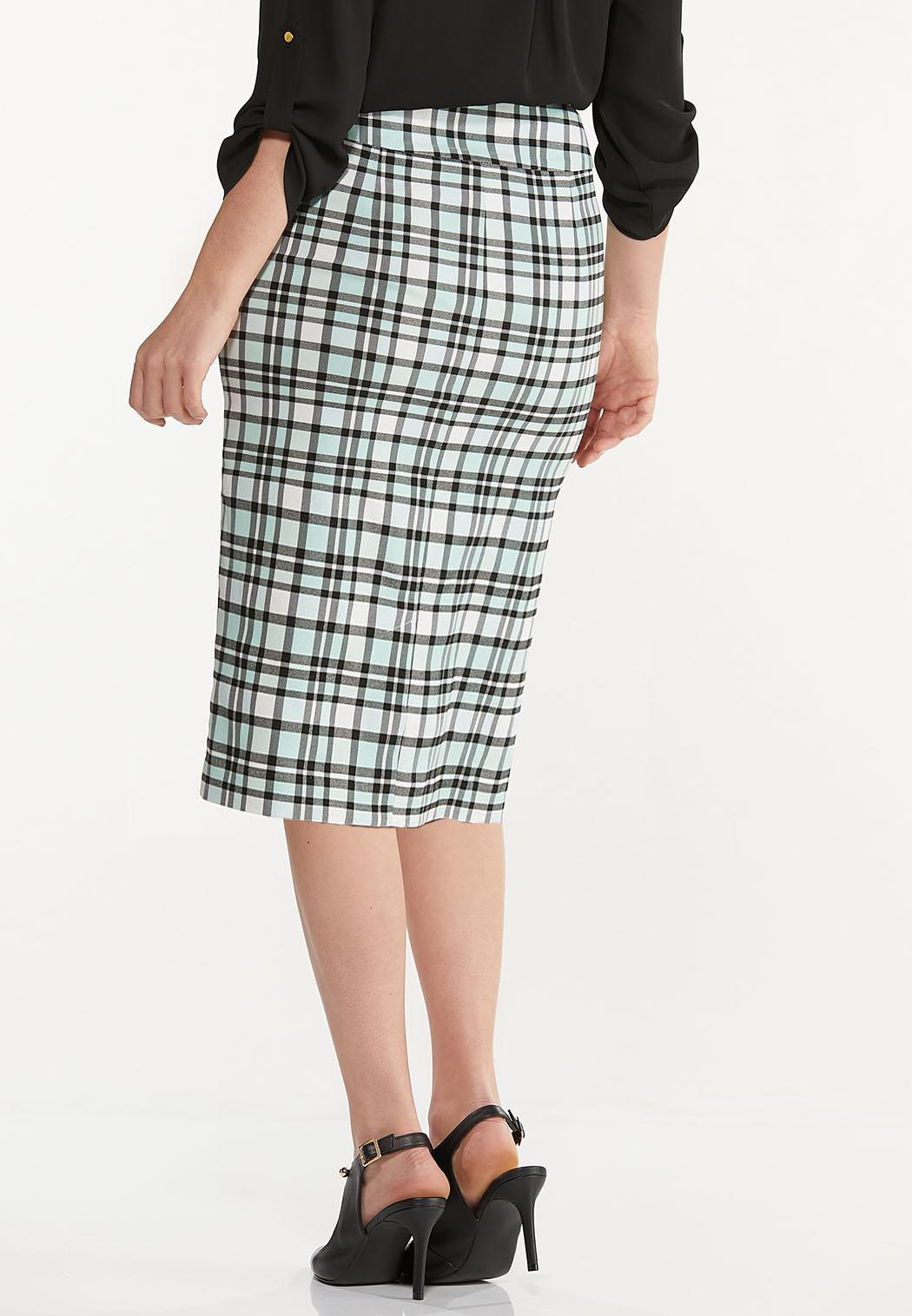 Plus Size Plaid Pencil Skirt (Item #44578306)