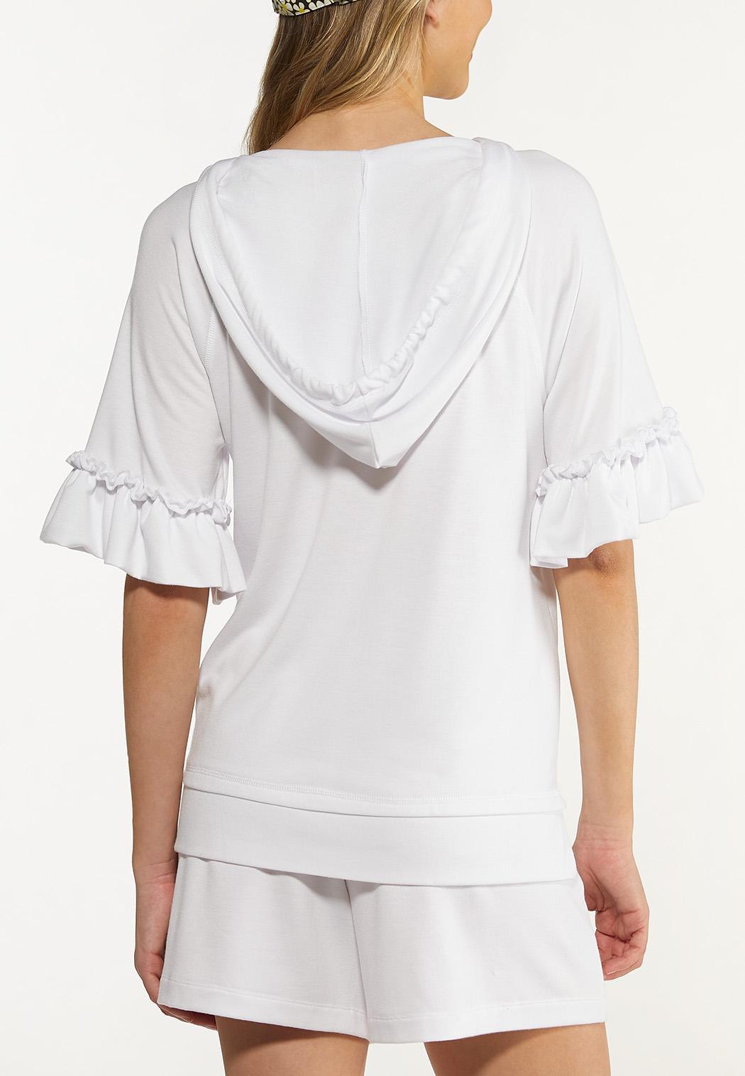 Plus Size Ruffled Sleeve Hoodie (Item #44578322)