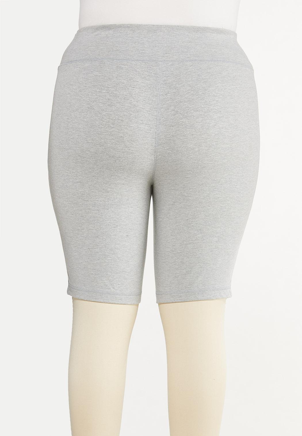 Plus Size Heather Gray Biker Shorts (Item #44578818)
