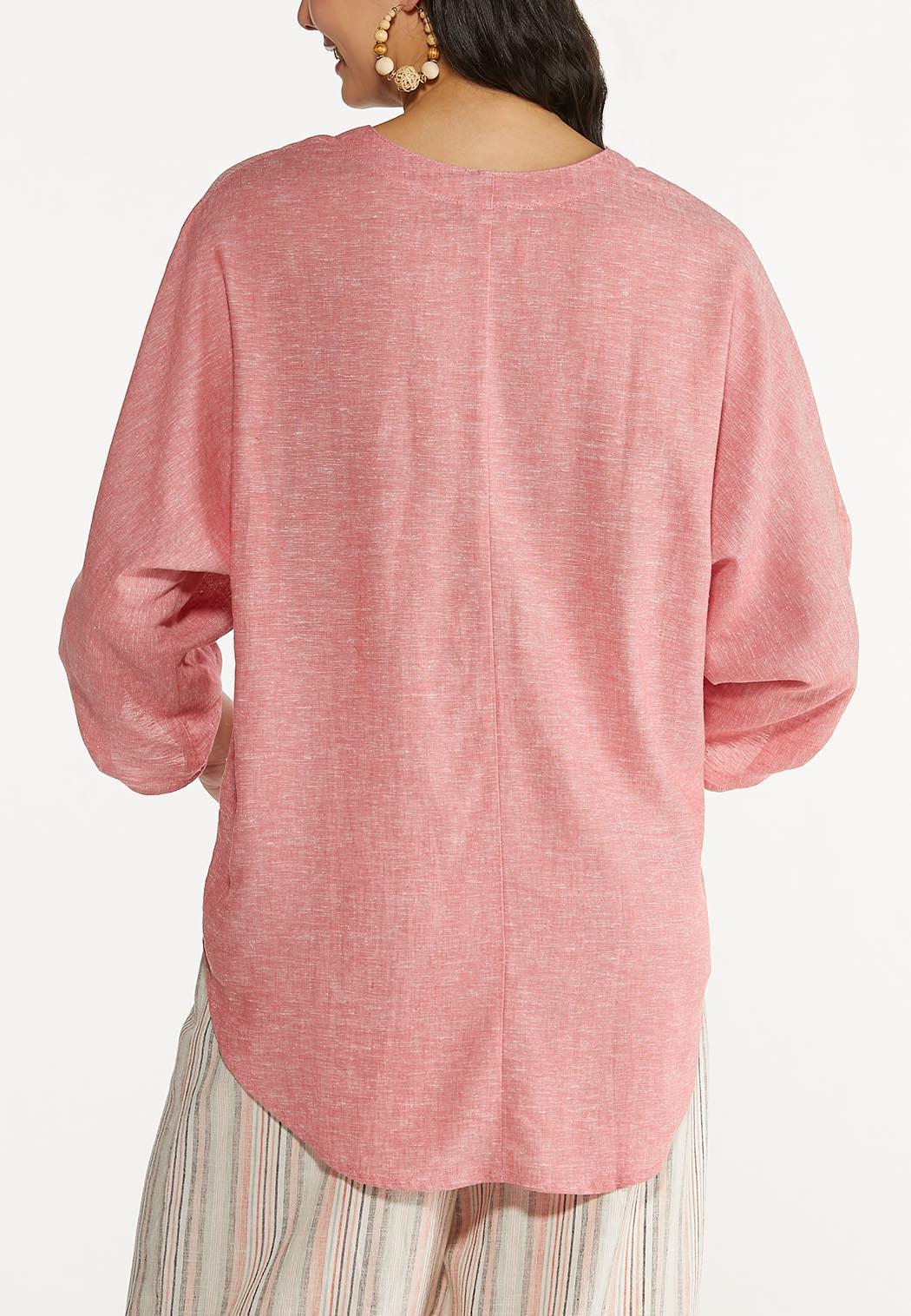 Plus Size Coral Linen Top (Item #44579039)