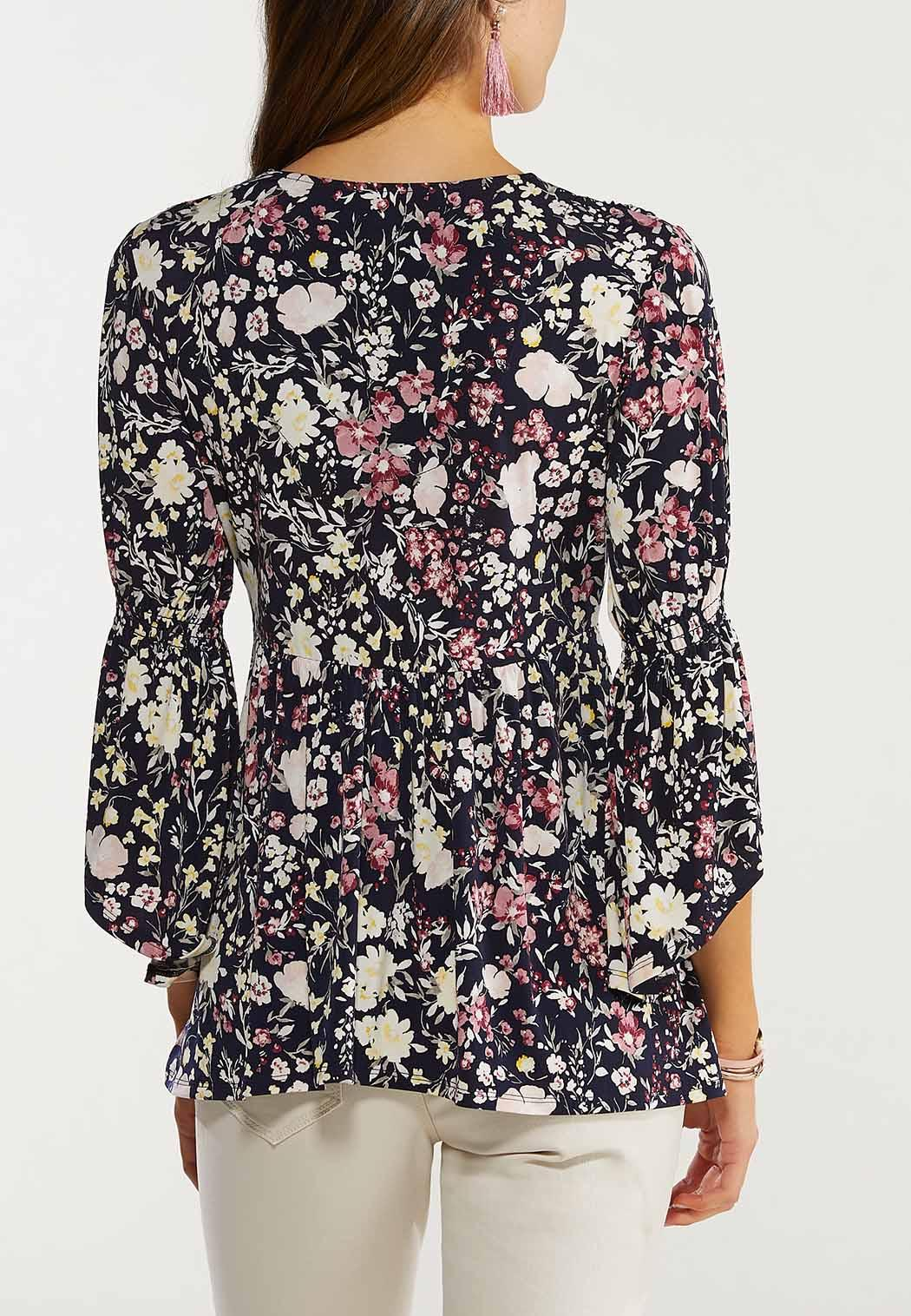 Plus Size Smocked Floral Tunic (Item #44579188)