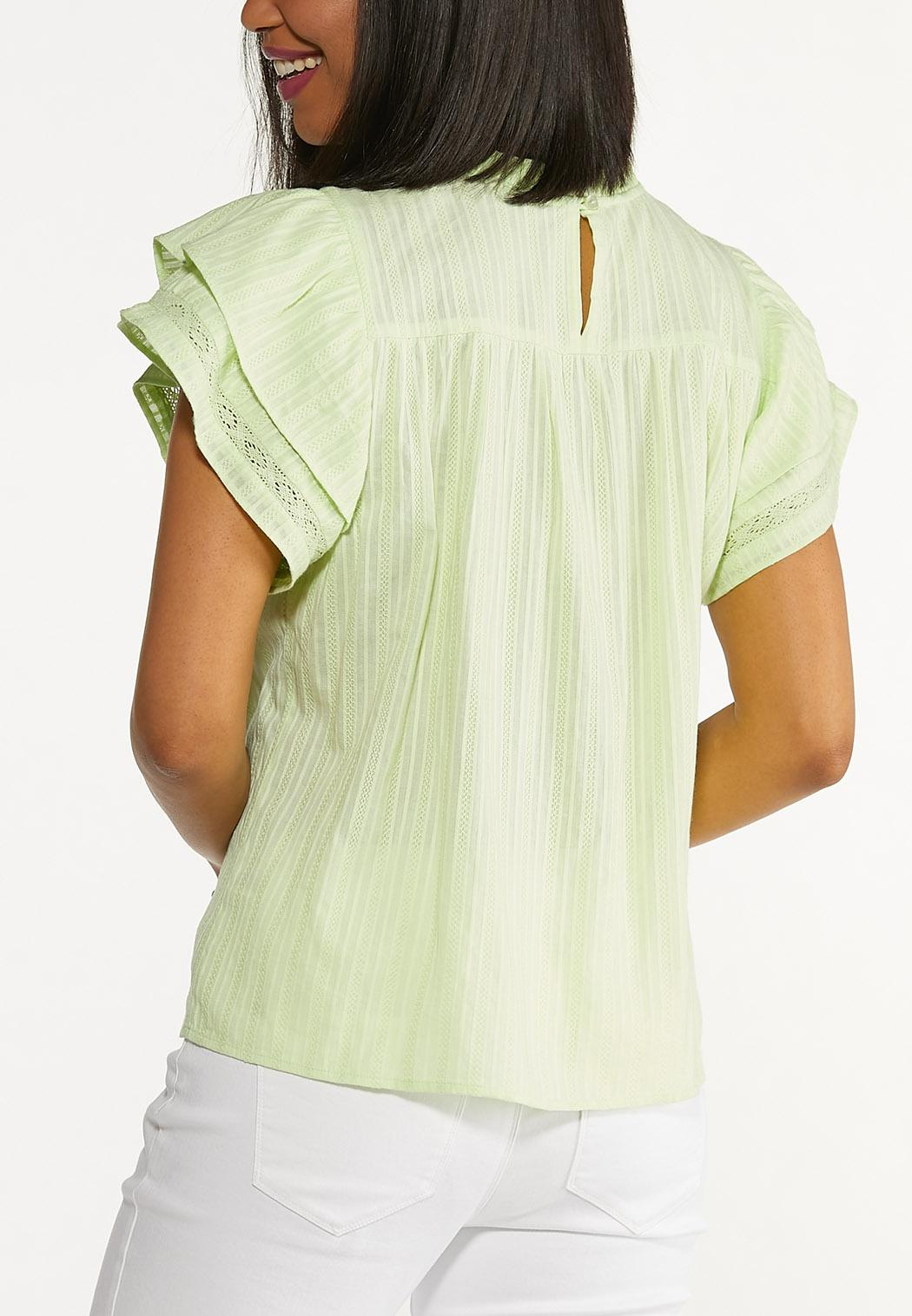Plus Size Lime Ruffled Sleeve Top (Item #44579272)