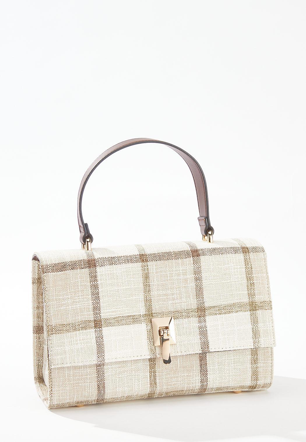 Plaid Linen Crossbody Satchel (Item #44579313)